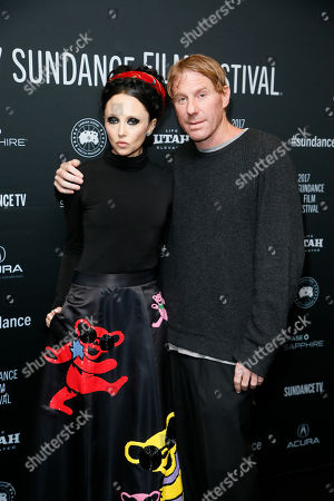 """Producer Eric Eisner, right, and his wife clothing designer Stacey Bendet, left, pose at the premiere of """"Long Strange Trip,"""" a documentary about the Grateful Dead rock group, during the 2017 Sundance Film Festival, in Park City, Utah"""