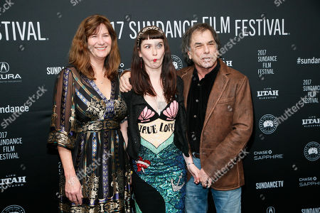 """Stock Picture of Mickey Hart, right, poses with his wife Caryl Hart, left, and daughter Reya Hart, center, at the premiere of """"Long Strange Trip,"""" a documentary about the Grateful Dead rock group, during the 2017 Sundance Film Festival, in Park City, Utah"""