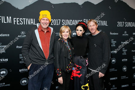"""From left to right, Michael Eisner, Jane Breckenridge, producer Eric Eisner, and his wife clothing designer Stacey Bendet pose at the premiere of """"Long Strange Trip,"""" a documentary about the Grateful Dead rock group, during the 2017 Sundance Film Festival, in Park City, Utah"""