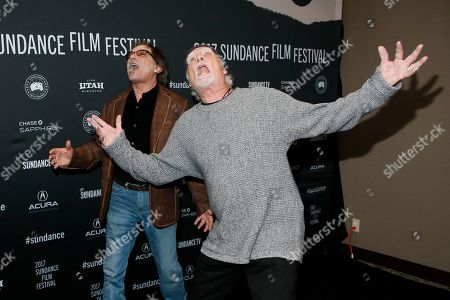 """Stock Image of Mickey Hart, left, and Bill Kreutzmann, right, pose at the premiere of """"Long Strange Trip,"""" a documentary about the Grateful Dead rock group, during the 2017 Sundance Film Festival, in Park City, Utah"""
