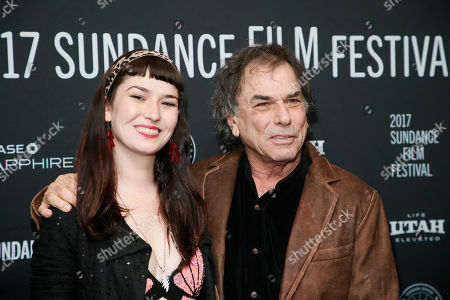 """Mickey Hart, right, poses with his daughter Reya Hart, left, at the premiere of """"Long Strange Trip,"""" a documentary about the Grateful Dead rock group, during the 2017 Sundance Film Festival, in Park City, Utah"""