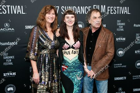 """Mickey Hart, right, poses with his wife Caryl Hart, left, and daughter Reya Hart, center, at the premiere of """"Long Strange Trip,"""" a documentary about the Grateful Dead rock group, during the 2017 Sundance Film Festival, in Park City, Utah"""