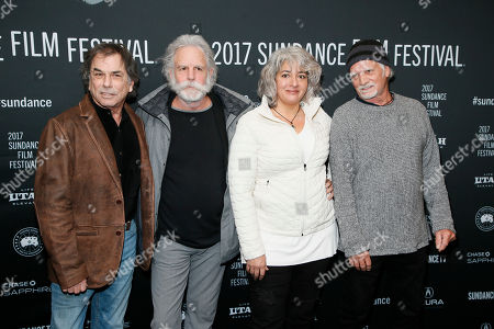 """From left to right, Mickey Hart, Bob Weir, Cdaughter of the late Grateful Dead member Jerry Garcia, and Bill Kreutzmann pose at the premiere of """"Long Strange Trip,"""" a documentary about the Grateful Dead rock group, during the 2017 Sundance Film Festival, in Park City, Utah"""