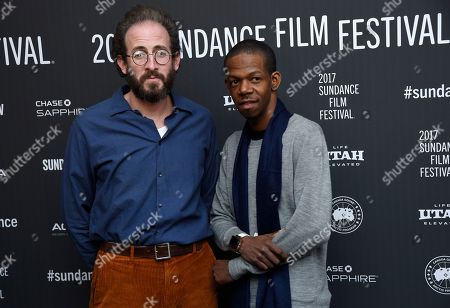 "Stock Picture of Bene Coopersmith, left, and George Sample III, cast members in ""Person to Person,"" pose together at the premiere of the film at the Library Center Theatre during the 2017 Sundance Film Festival, in Park City, Utah"