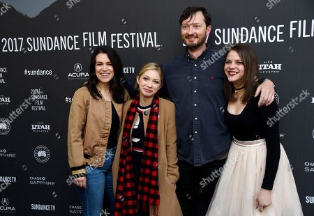 "Dustin Guy Defa, second from right, writer/director of ""Person to Person,"" poses with cast members, from left, Abbi Jacobson, Tavi Gevinson and Olivia Luccardi at the premiere of the film at the Library Center Theatre during the 2017 Sundance Film Festival, in Park City, Utah"