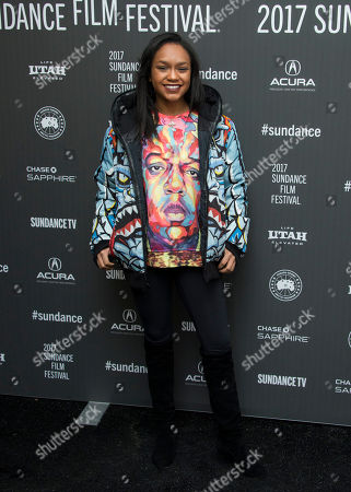 """Actress Eden Duncan-Smith poses at the premiere of the film """"Roxanne Roxanne"""" at the Library Center Theater during the 2017 Sundance Film Festival, in Park City, Utah"""