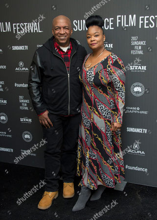 "Stock Picture of Co-producer Ralph McDaniels, left, poses with Roxanne Shanté at the premiere of the film ""Roxanne Roxanne"" at the Library Center Theater during the 2017 Sundance Film Festival, in Park City, Utah"