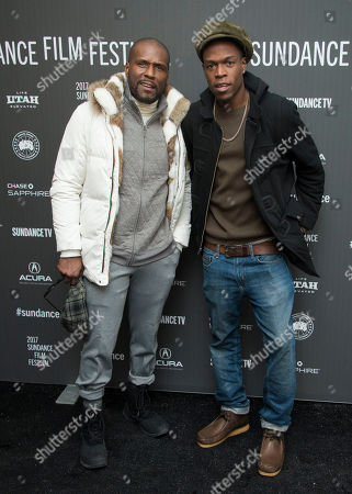 "Actor Curtiss Cook, left, poses with his son Curtiss Cook, Jr. at the premiere of the film ""Roxanne Roxanne"" at the Library Center Theater during the 2017 Sundance Film Festival, in Park City, Utah"
