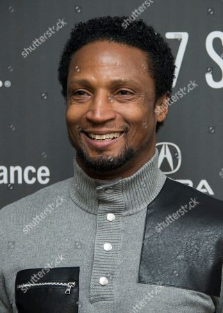 """Actor Elvis Nolasco poses at the premiere of the film """"Roxanne Roxanne"""" at the Library Center Theater during the 2017 Sundance Film Festival, in Park City, Utah"""