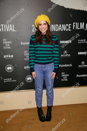 "Angela Trimbur poses at the premiere of ""Strangers"" during the short form episodic showcase at the 2017 Sundance Film Festival, in Park City, Utah"