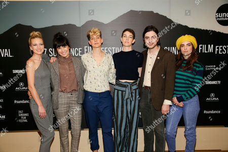 """From left to right, Meredith Hagner, Zoe Chai, Mia Lidofsky, Celia Rowlson-Hall, Morgan Krantz and Angela Trimbur, bottom, pose at the premiere of """"Strangers"""" during the short form episodic showcase at the 2017 Sundance Film Festival, in Park City, Utah"""