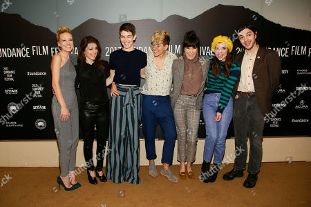 "From left to right, Meredith Hagner, Shiri Appleby, Celia Rowlson-Hall, Mia Lidofsky, Zoe Chai, Angela Trimbur, Morgan Krantz pose at the premiere of ""Strangers"" during the short form episodic showcase at the 2017 Sundance Film Festival, in Park City, Utah"