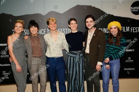 "From left to right, Meredith Hagner, Zoe Chai, Mia Lidofsky, Celia Rowlson-Hall, Morgan Krantz and Angela Trimbur, bottom, pose at the premiere of ""Strangers"" during the short form episodic showcase at the 2017 Sundance Film Festival, in Park City, Utah"