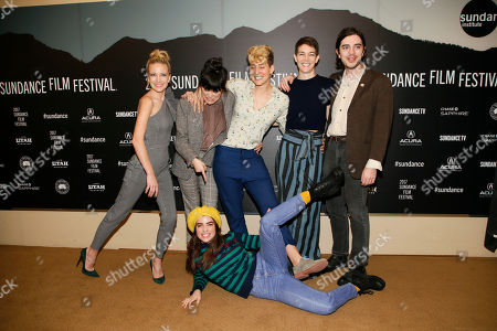 """From left to right, Meredith Hagner, Zoe Chai, Mia Lidofsky, Celia Rowlson-Hall, Morgan Krantz and Angela Timbur, bottom, pose at the premiere of """"Strangers"""" during the short form episodic showcase at the 2017 Sundance Film Festival, in Park City, Utah"""