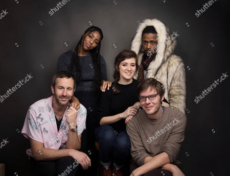 "Actors Chris O'Dowd, from left, Jessica Williams, Noel Wells and Lakeith Stanfield pose for a portrait with writer/director Jim Strouse to promote the film, ""The Incredible Jessica James,"" at the Music Lodge during the Sundance Film Festival, in Park City, Utah"