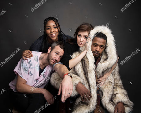 """Actors Chris O'Dowd, from left, Jessica Williams, Noel Wells and Lakeith Stanfield pose for a portrait to promote the film, """"The Incredible Jessica James,"""" at the Music Lodge during the Sundance Film Festival, in Park City, Utah"""