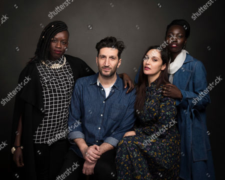 """Actors Elizabeth Arjok, from left, Fares Fares, Hania Amar and Mari Malek pose for a portrait to promote the film, """"The Nile Hilton Incident,"""" at the Music Lodge during the Sundance Film Festival, in Park City, Utah"""