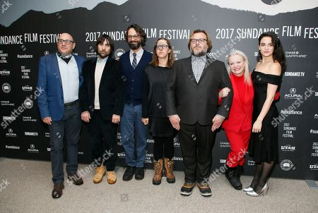 """From left to right, actor Willie Garson, actor Jason Schwartzman, writers and directors Wallace Wolodarsky and Maya Forbes, actor Jack Black, actress Jacki Weaver and actress Jenny Slate pose at the premiere of """"The Polka King"""" during the 2017 Sundance Film Festival, in Park City, Utah"""