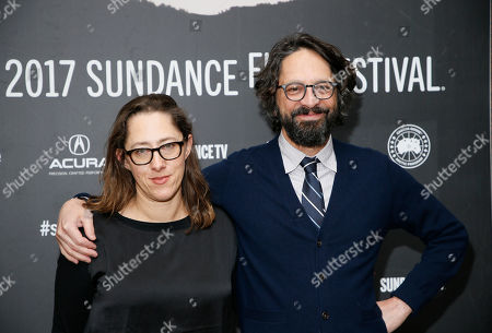 """Stock Image of Writers and directors Maya Forbes, left, and Wallace Wolodarsky, right, pose at the premiere of """"The Polka King"""" during the 2017 Sundance Film Festival, in Park City, Utah"""