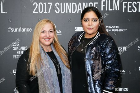 """Producers Monica Levinson, left, and Shivani Rawat, right, pose at the premiere of """"The Polka King"""" during the 2017 Sundance Film Festival, in Park City, Utah"""