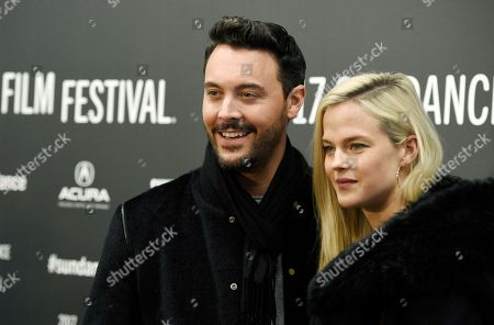 "Jack Huston, a cast member in ""The Yellow Birds,"" poses with Shannan Click at the premiere of the film at Eccles Theatre during the 2017 Sundance Film Festival, in Park City, Utah"