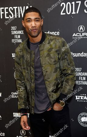 """Carter Redwood, a cast member in """"The Yellow Birds,"""" poses at the premiere of the film at Eccles Theatre during the 2017 Sundance Film Festival, in Park City, Utah"""