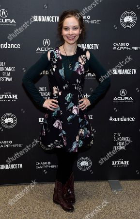 "Rebekah Kennedy, a cast member in ""To the Bone,"" poses at the premiere of the film at the Eccles Theatre during the 2017 Sundance Film Festival, in Park City, Utah"
