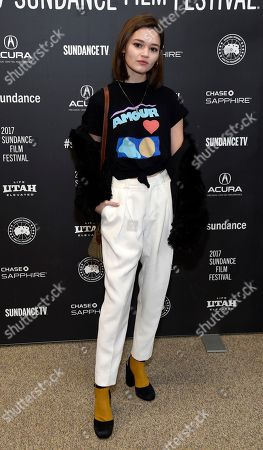"Ciara Bravo, a cast member in ""To the Bone,"" poses at the premiere of the film at the Eccles Theatre during the 2017 Sundance Film Festival, in Park City, Utah"