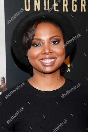 """Creator and executive producer Misha Green poses at WGN America's """"Underground"""" Sundance red carpet celebration party during the 2017 Sundance Film Festival, in Park City, Utah"""