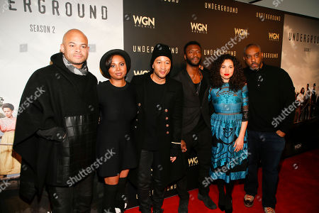 """From left to right, executive producer and director Anthony Hemingway, creator and executive producer Misha Green, executive producer John Legend, actor Aldis Hodge, actress Jurnee Smollett-Bell and executive producer Mike Jackson pose at WGN America's """"Underground"""" Sundance red carpet celebration party during the 2017 Sundance Film Festival, in Park City, Utah"""