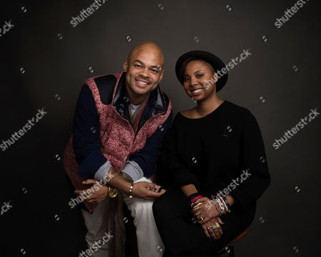 """Director Anthony Hemingway, left, and co-creator Misha Green pose for a portrait to promote the series, """"Underground"""", at the Music Lodge during the Sundance Film Festival, in Park City, Utah"""