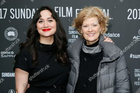 """Actress Lily Gladstone, left, and Dana Wheeler-Nicholson, right, pose at the premiere of """"Walking Out"""" during the 2017 Sundance Film Festival, in Park City, Utah"""