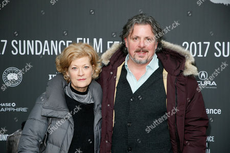 """Stock Image of Director Alex Smith, right, and wife actress Dana Wheeler-Nicholson, left, pose at the premiere of """"Walking Out"""" during the 2017 Sundance Film Festival, in Park City, Utah"""