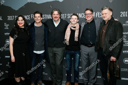 "From left to right, Lily Gladstone, Matt Bomer, director Alex Smith, Josh Wiggins, Director Andrew Smith and Bill Pullman pose at the premiere of ""Walking Out"" during the 2017 Sundance Film Festival, in Park City, Utah"