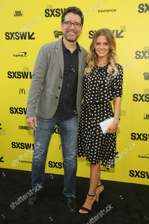"Rhett Reese, left, and Chelsey Crisp arrive for the world premiere of ""Life"" at the ZACK Theatre during the South by Southwest Film Festival, in Austin, Texas"