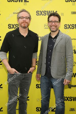 "Writers Paul Wernick, left, and Rhett Reese arrive for the world premiere of ""Life"" at the ZACK Theatre during the South by Southwest Film Festival, in Austin, Texas"