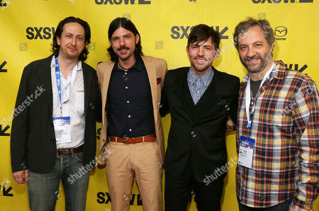 """Michael Bonfiglio, from left, Seth Avett, Scott Avett and Judd Apatow arrive for the world premiere of """"May It Last: A Portrait of the Avett Brothers"""" at the Paramount Theatre during the South by Southwest Film Festival, in Austin, Texas"""