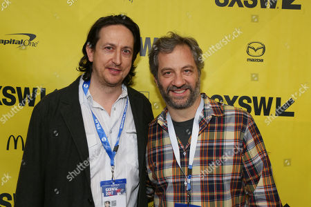 """Directors Michael Bonfiglio, left, and Judd Apatow arrive for the world premiere of """"May It Last: A Portrait of the Avett Brothers"""" at the Paramount Theatre during the South by Southwest Film Festival, in Austin, Texas"""