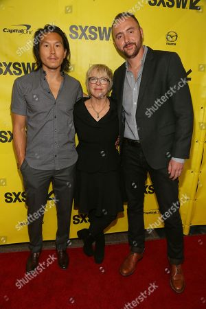 """Producers Kenneth Kao, Sarah Green and Nicolas Gonda, left to right, arrive at the world premiere of """"Song to Song"""" at the Paramount Theatre during the South by Southwest Film Festival, in Austin, Texas"""