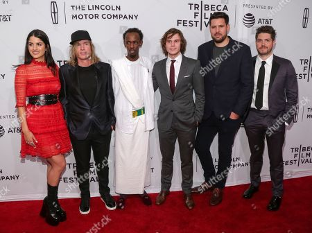 "Actress Kiana Madani, from left, Director Bryan Buckley, Actors Barkhad Abdi, Evan Peters, Author Jay Bahadur and Philip Ettinger attend a screening of ""Dabka"" at the SVA Theatre during the 2017 Tribeca Film Festival on in New York"