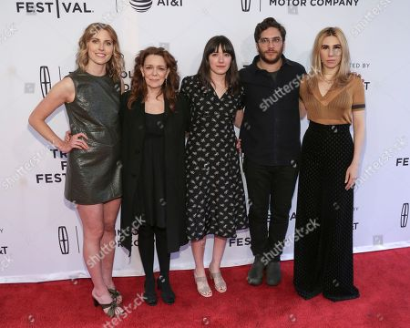 "Actresses Diana Irvine, from left, Deirdre O'Connell, Director Sophie Brooks, Actor Matthew Shear and Actress Zosia Mamet attend a screening of ""The Boy Downstairs"" at the SVA Theatre during the 2017 Tribeca Film Festival on in New York"