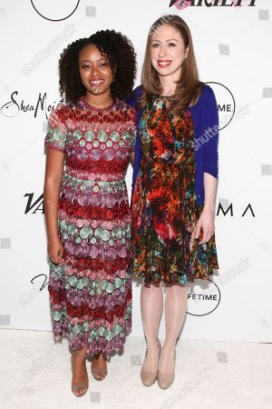 Haile Thomas, left, and Chelsea Clinton, right, attend Variety's Power of Women: New York Presented by Lifetime, at Cipriani Midtown, in New York