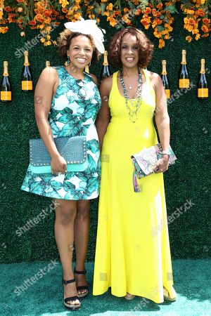 Kirby Bumpus, left, and Gayle King attend the Veuve Clicquot Polo Classic at Liberty State Park, in New Jersey