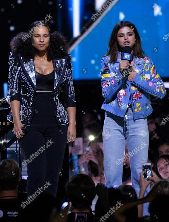 Stock Image of Alicia Keys, left, and Selena Gomez speak at WE Day California at the Forum, in Inglewood, Calif