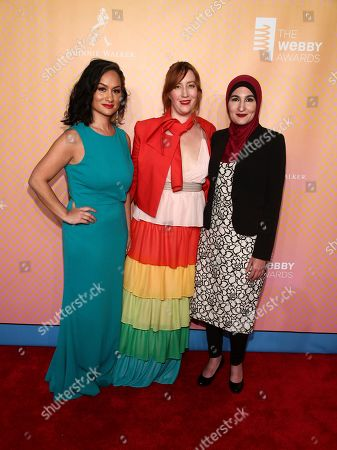 Carmen Perez, from left, Bob Bland and Linda Sarsour attend the 21st Annual Webby Awards at Cipriani Wall Street, in New York