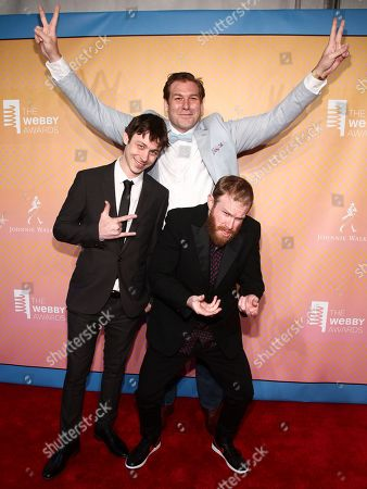 Marcus Parks, from left, Ben Kissel and Henry Zebrowski attend the 21st Annual Webby Awards at Cipriani Wall Street, in New York