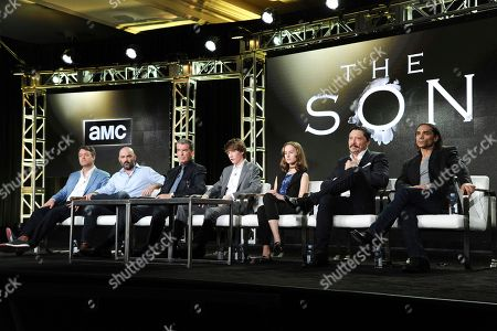 "Kevin Murphy, from left, Philipp Meyer, Pierce Brosnan, Jacob Lofland, Sydney Lucas, Carlos Bardem and Zahn McClarnon attend ""The Son"" panel at AMC's portion of the 2017 Winter Television Critics Association press tour, in Pasadena, Calif"