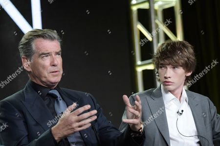 """Pierce Brosnan, left, and Jacob Lofland attend """"The Son"""" panel at AMC's portion of the 2017 Winter Television Critics Association press tour, in Pasadena, Calif"""