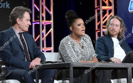 "Bryan Cranston, from left, Yvette Nicole Brown and Zeb Wells, co-creator/executive producer, attend the ""Super Mansion"" panel at the Crackle portion of the Winter Television Critics Association press tour, in Pasadena, Calif"