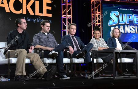 "Matthew Senreich, co-creator/executive producer, from left, Tucker Gilmore, Bryan Cranston, Yvette Nicole Brown and Zeb Wells, co-creator/executive producer, attend the ""Super Mansion"" panel at the Crackle portion of the Winter Television Critics Association press tour, in Pasadena, Calif"